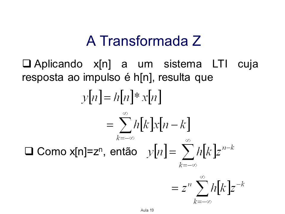 A Transformada Z Aplicando x[n] a um sistema LTI cuja resposta ao impulso é h[n], resulta que. Como x[n]=zn, então.